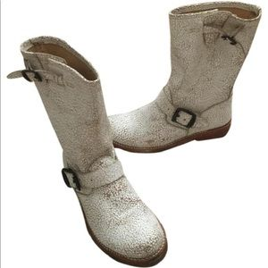 Frye crackled boots